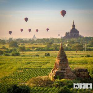 myanmar bagan shwe sandaw balloons sunrise