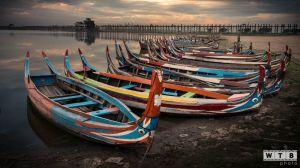 myanmar u bein boats sunrise