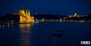 budapest danube view night parliament